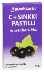 Apteekkarin C+ Sinkki pastilli mustaherukka 30 kpl